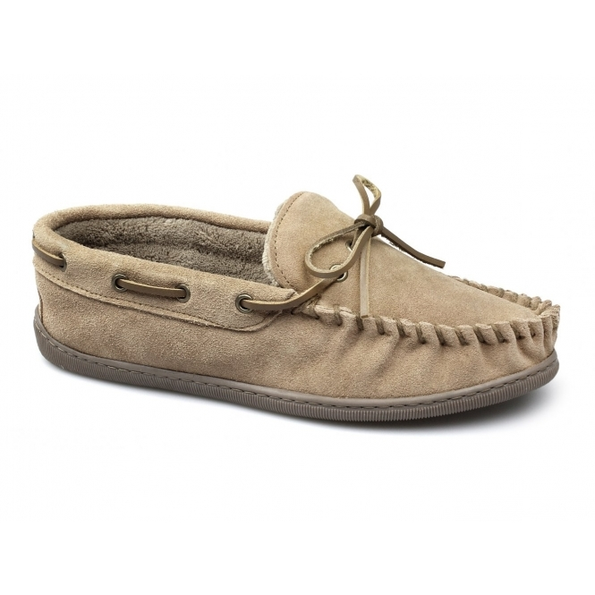Dr Keller SHEAMUS Mens Warm Suede Moccasin Wide Boat Slippers Tan