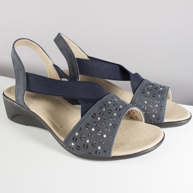 aa03bebc3 Dr Keller SHEILA Ladies Elasticated Wedge Sandals Navy Blue