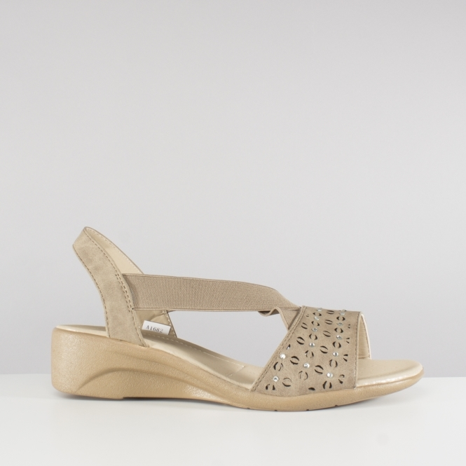 bc51b3102 Dr Keller SHEILA Ladies Summer Elasticated Wedge Sandals Taupe