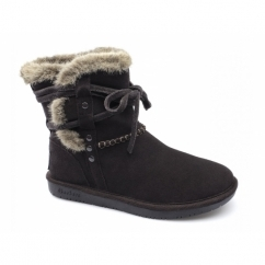 SHELBYS Ladies Suede Warm Winter Boots Chocolate
