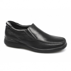 SHELDON Mens Leather Slip On Loafers Black