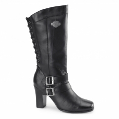 SHELIA Ladies Leather Zip Heeled Boots Black