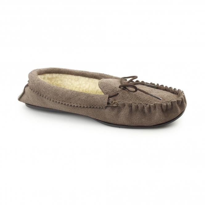 Mokkers SHERIDAN Mens Suede Leather Warm Lined Moccasin Slippers Dark Taupe