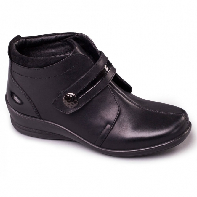 Padders SHIRLEY Ladies Leather Touch Fasten Wide E/EE Boots Black