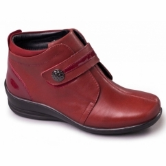 SHIRLEY Ladies Leather Velcro Wide E/EE Boots Wine