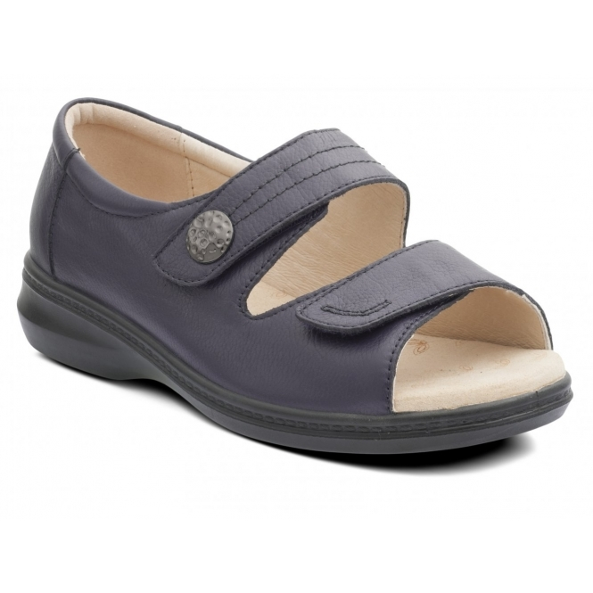 Padders SHORE Ladies Leather Super EEEE Wide Velcro Sandals Navy