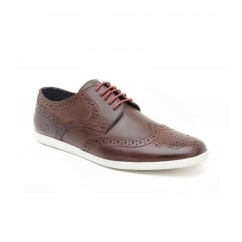 SHORE Mens Leather Brogue Shoes Pull Up Brown