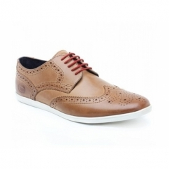SHORE Mens Leather Brogue Shoes Pull Up Tan