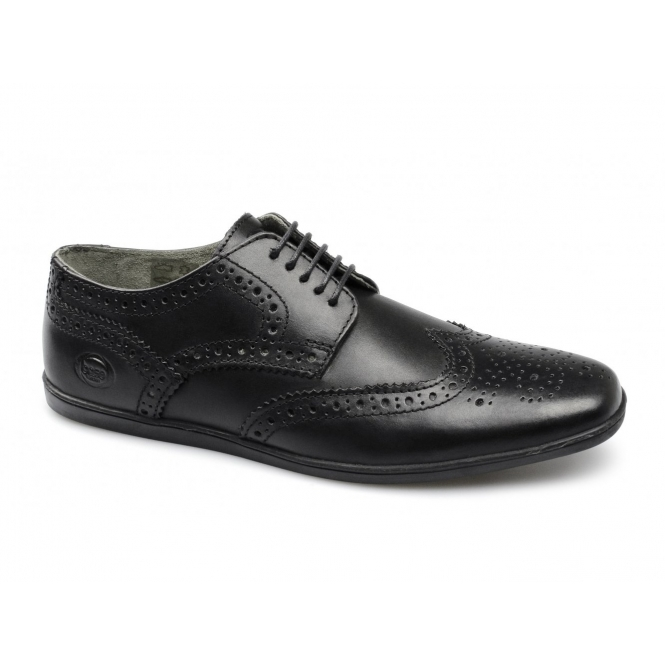 Base London SHORE Mens Waxy Leather Brogue Shoes Black