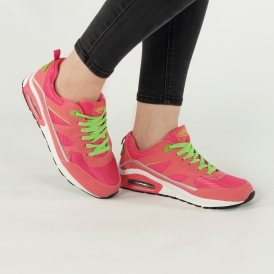 Shumo CIRCUIT Ladies Womens Soft Lace Up Athletic Sports Trainers Navy//Pink