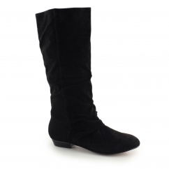 B40032 Ladies Mid Calf Faux Suede Side Zip Boots Black
