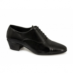 DIEGO Mens Soft Leather Lace Up Cuban Heel Oxford Shoes Black