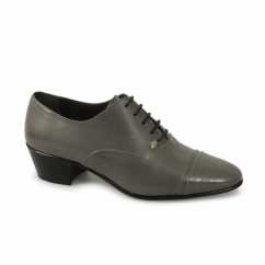 DIEGO Mens Soft Leather Lace Up Cuban Heel Oxford Shoes Grey