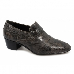 EDUARDO Mens Snakeskin Cuban Heel Shoes Brown