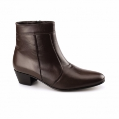 EMMANUEL Mens Plain Leather Cuban Heel Boots Brown