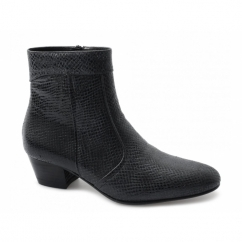 EMMANUEL Mens Snakeskin Leather Cuban Heel Boots True Black