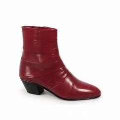 ENRIQUE Mens Cuban Heel Plain Leather Boots Red