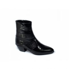 ENRIQUE Mens Cuban Heel Reptile Leather Boots Black