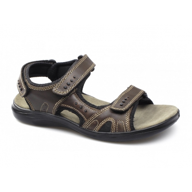 JEFFREY Mens Triple Velcro Sports Sandals Brown