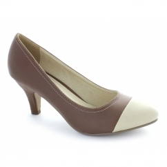 Ladies Faux Leather Toe Cap Court Shoes Brown/Beige