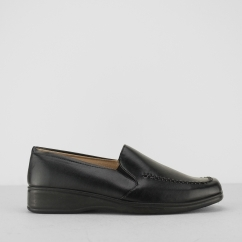 Ladies Faux Leather Wedge Loafers Black