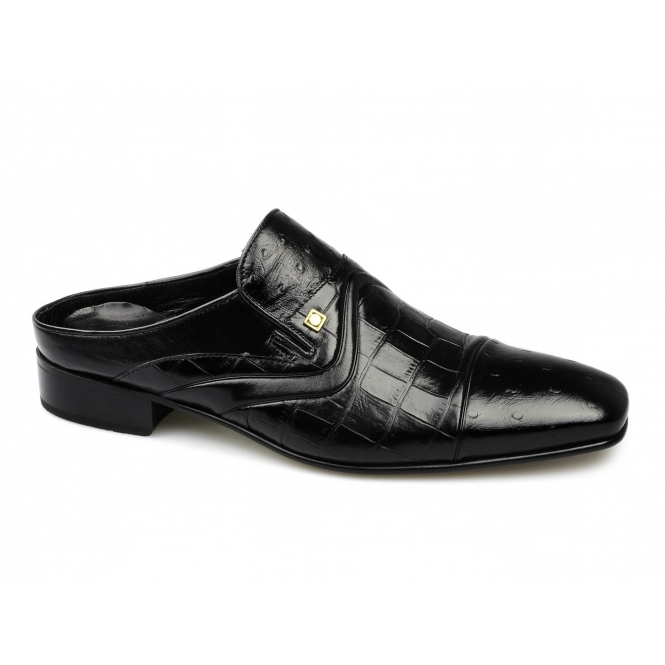 Lazio Mens Soft Scaly Leather Chisel Half Shoes Black Buy At Shuperb