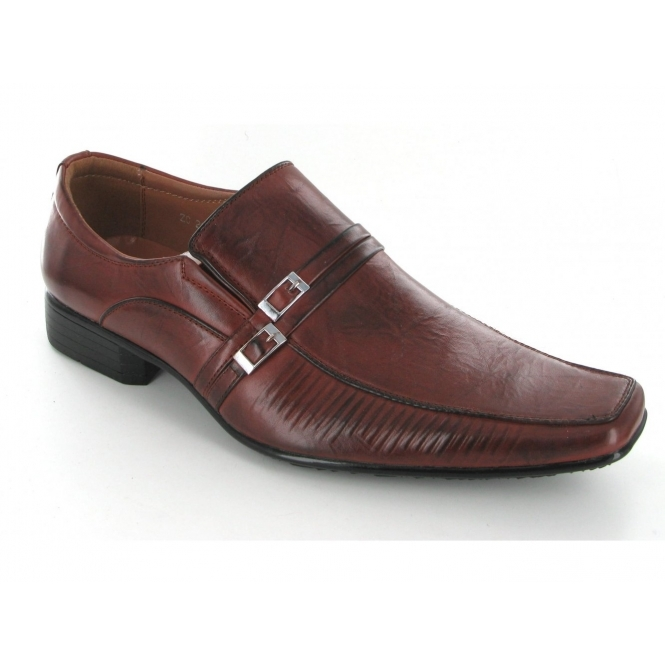 Shuperb Mens Buckle Slip On Chisel Toe Shoes Brown