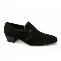 NASSER Mens Suede Leather Plain Cuban Heel Shoes Black