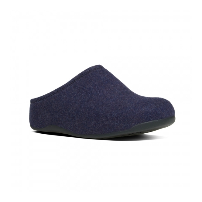 FitFlop™ SHUV FELT™ Ladies Felt Mule Clogs Supernavy