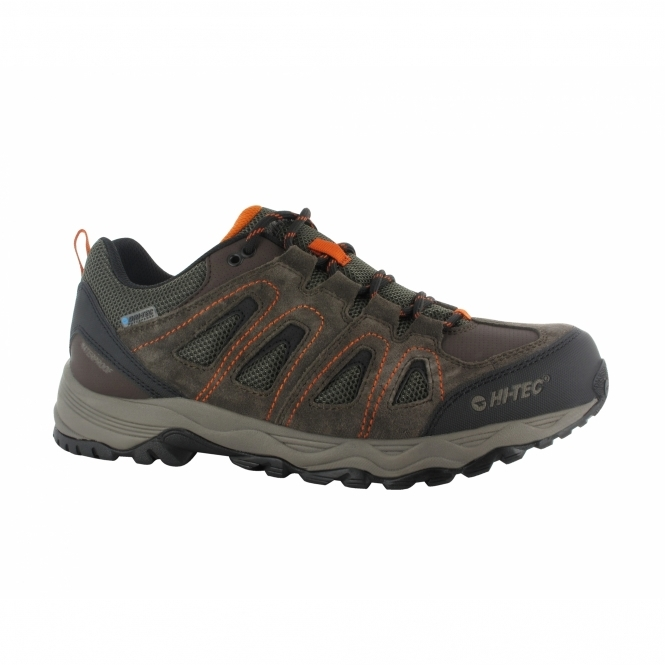 Hi-Tec SIGNAL HILL WP Mens Sports Trainers Chocolate/Taupe/Orange
