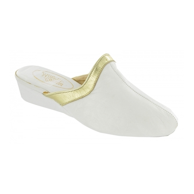 Cincasa Menorca SIGNATURE Ladies Leather Heeled Slippers White/Gold