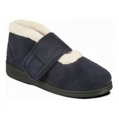 SILENT Ladies Microsuede Extra Wide (EE) Fitting Boots Slippers Navy