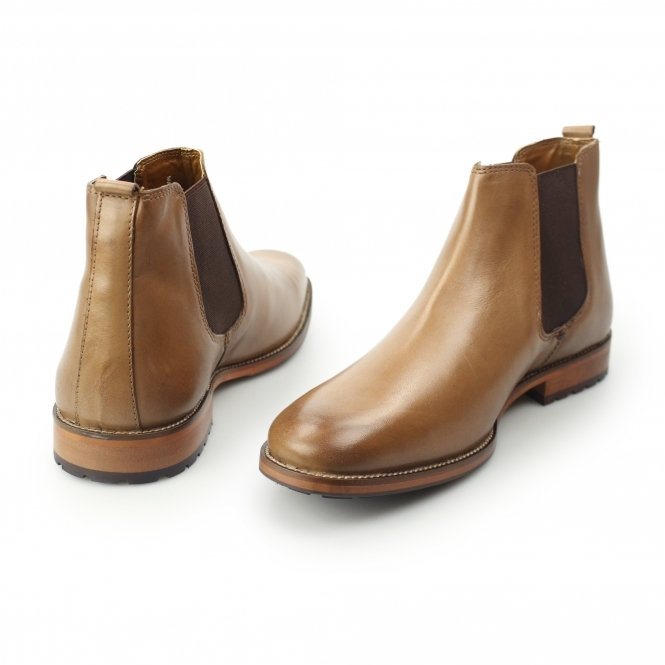 low priced ef752 8eca0 ARGYLL Mens Leather Chelsea Boots Tan