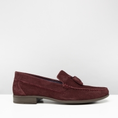 AUDLEY Mens Suede Tassel Loafers Oxblood