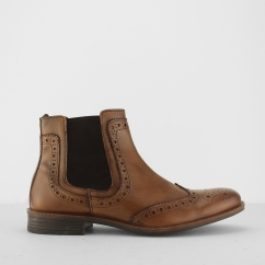 Sliver Street BYRON Mens Leather Brogue Pull On Chelsea Boots Tan