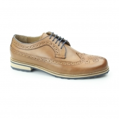 Silver Street CANNON Mens Leather Longwing Derby Brogues Tan