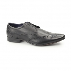 FLEET Mens Leather Pointed Brogues Black