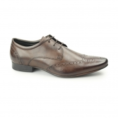 FLEET Mens Leather Pointed Brogues Brown