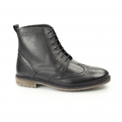 GERRARD Mens Leather Brogue Derby Boots Black