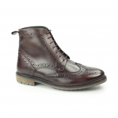 GERRARD Mens Leather Brogue Derby Boots Bordo
