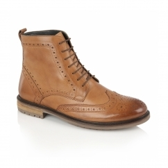 GERRARD Mens Leather Brogue Derby Boots Tan