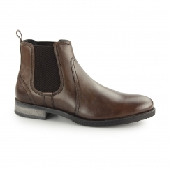 MILLER Mens Leather Elasticated Chelsea Boots Brown