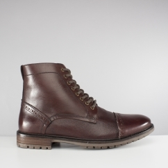 Silver Street London MONMOUTH Mens Leather Derby Boots Burgundy