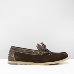 SAVOY Mens Suede Fringe Loafers Brown