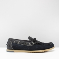 SAVOY Mens Suede Fringe Loafers Navy
