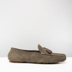 STEWART Mens Suede Driving Loafers Grey