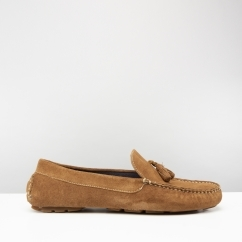 STEWART Mens Suede Driving Loafers Tan