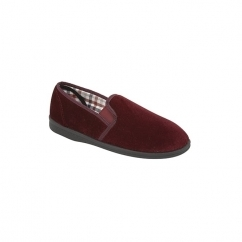 SIMON Mens Twin Gusset Velour Full Slippers Burgundy