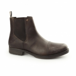 SIMON Mens Waxy Leather Chelsea Boots Brown Stone