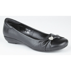 SISSI Girls Sash Vamp Flat Pumps Shoes Black